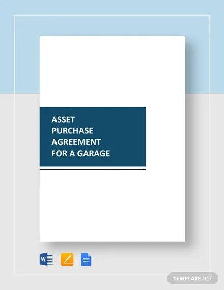 Asset Purchase Agreement For a Garage Template Download 85+ Legal