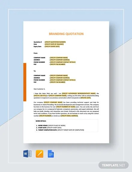 Branding Quotation Template Download 63+ Quotations in Microsoft