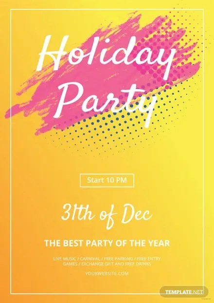 Free Holiday Party Flyer Template Free Templates