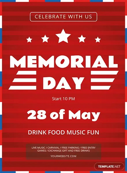 independence day memorial day flyer template holidays events preview