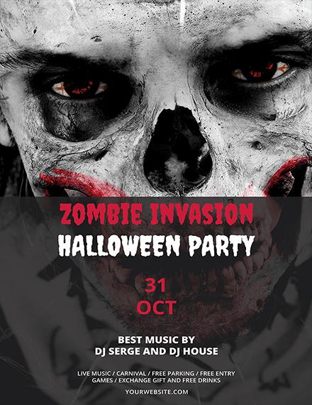 Free Zombie Invasion Halloween Flyer Template in Adobe Photoshop