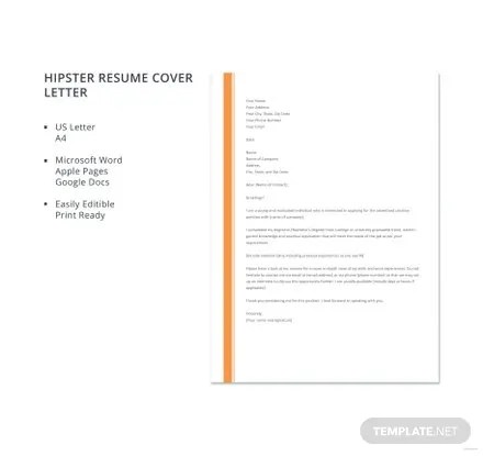Free Hipster Resume Cover Letter Template in Microsoft Word, Apple