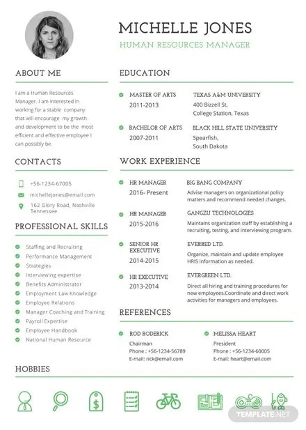 Free Professional HR Resume and CV Template in PSD, MS Word - free professional resume template