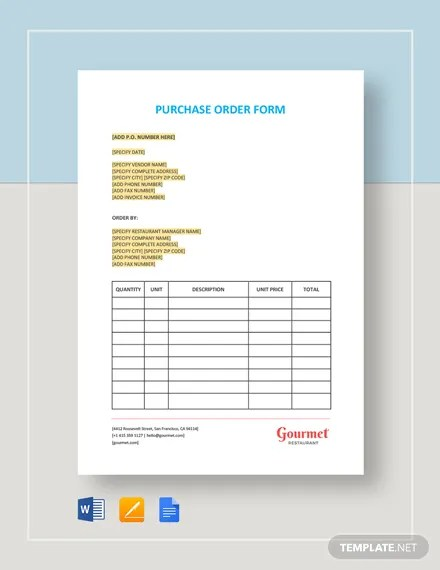 Restaurant Purchase Order Form Template Download 58+ Templates in