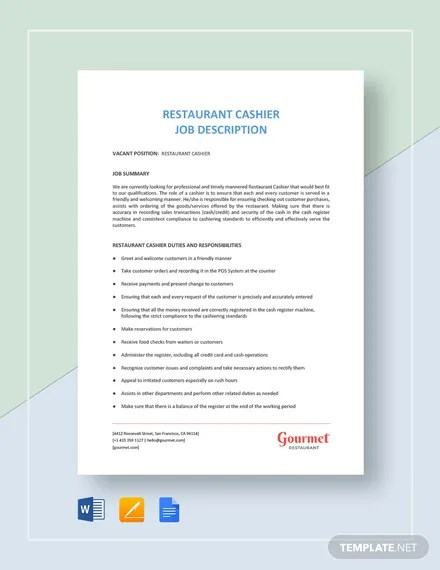 Cashier Job Description Template - 12+ Free Word, PDF Format