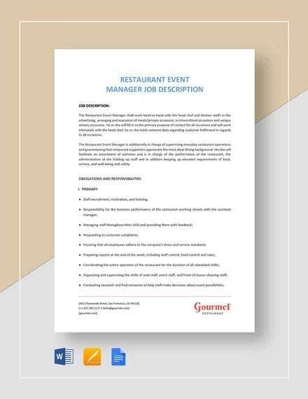 Restaurant Manager Job Description Templates - 11+ Free Sample