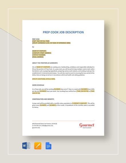 13+ Line Cook Job Description Templates - PDF, DOC Free  Premium