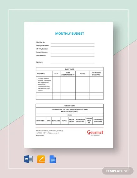 Restaurant Monthly Budget Template Download 59+ Planning and