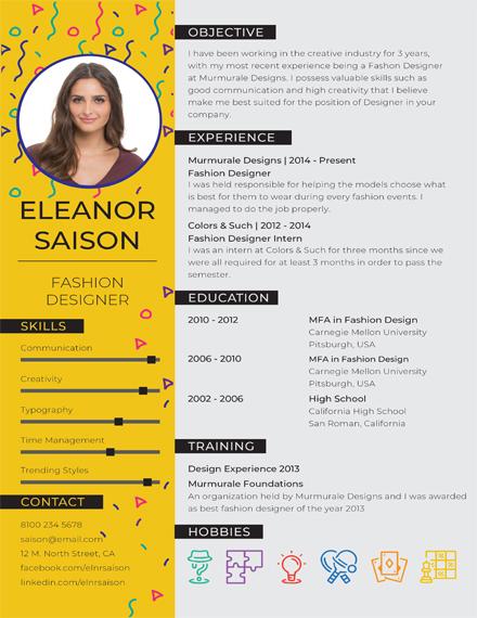 FREE Fashion Designer Resume and CV Template Download 160+ Resume