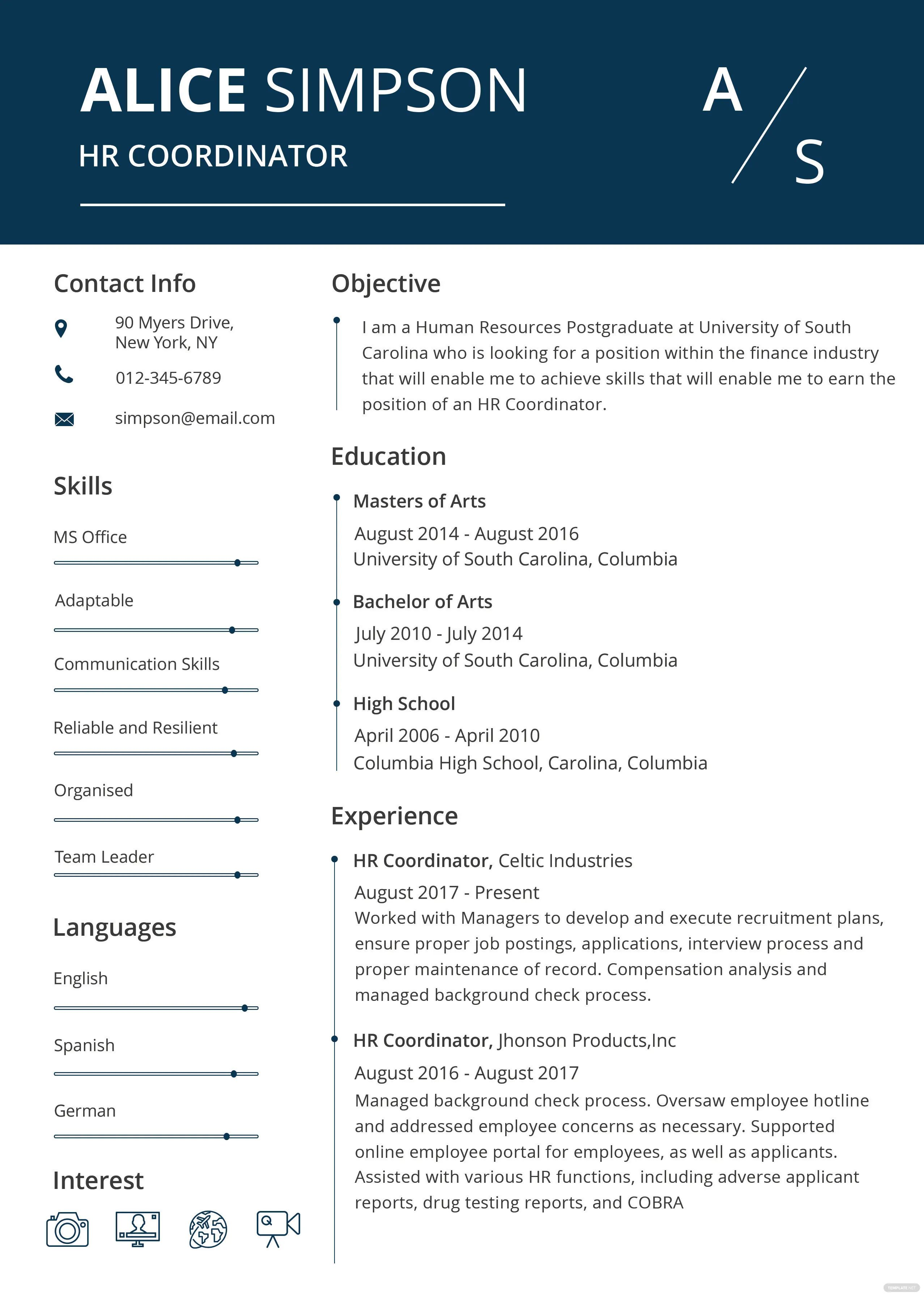 professional hr resume template word one page