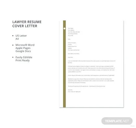 Free Lawyer Resume Cover Letter Template in Microsoft Word, Apple
