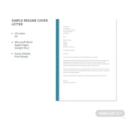 Free Simple Resume Cover Letter Template in Microsoft Word, Apple - Simple Resume Cover Letters