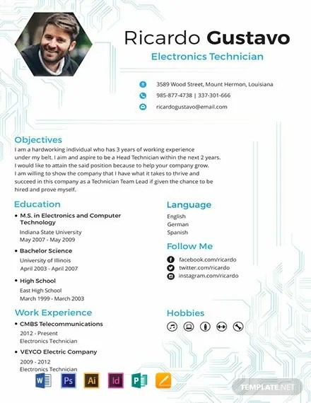 FREE Electronic Technician Resume and CV Template Download 316+