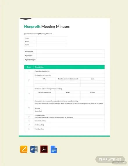 free minutes template for meetings