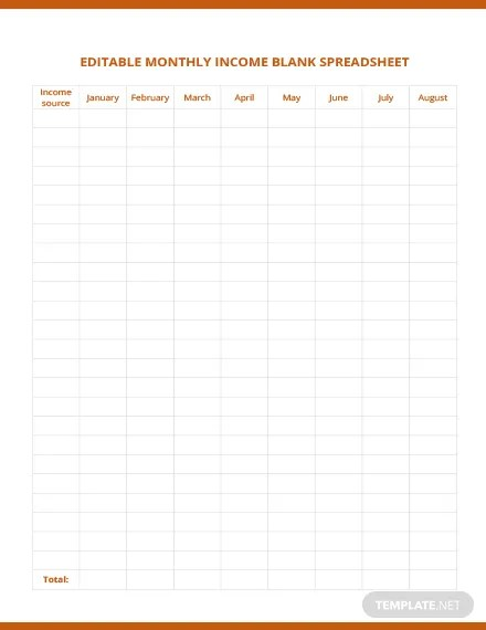 Editable Monthly Income Blank Spreadsheet Template Download 239+ - monthly income spreadsheet
