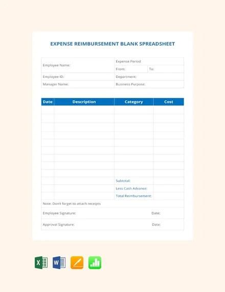 FREE Expense Reimbursement Blank Spreadsheet Template Download 530+