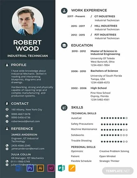 FREE Technician Resume and CV Template Download 316+ Resume