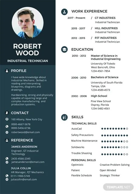 Free Electronic Technician Resume and CV Template in PSD, MS Word - Resume With Photo Template