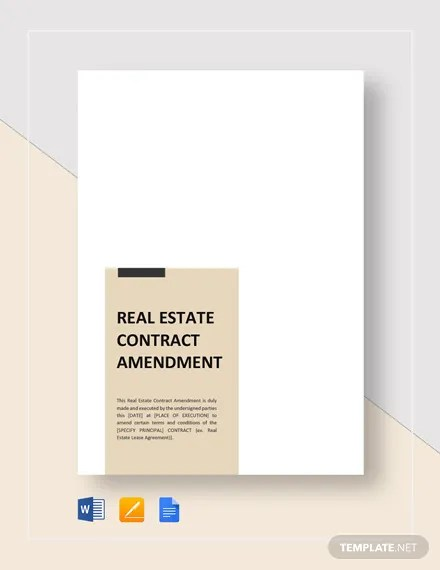 Real Estate Contract Amendment Template  Download 146+ Contracts in