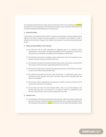 commercial cleaning contract forms - Nevadlugopisyreklamowe