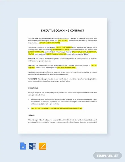 Executive Coaching Contract Template Templatenet