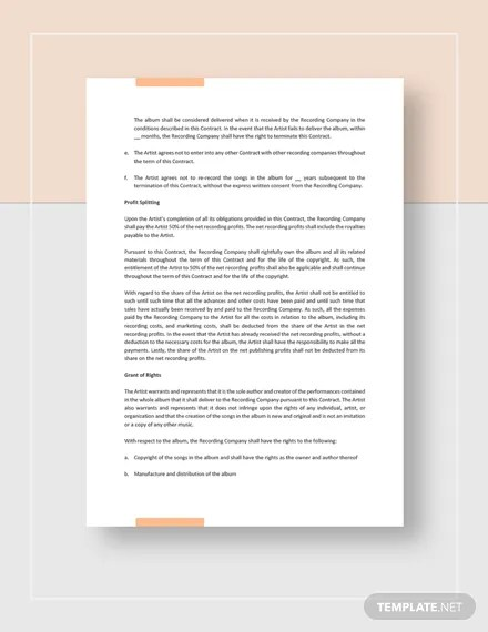 Recording Contract Template  Download 146+ Contracts in Microsoft
