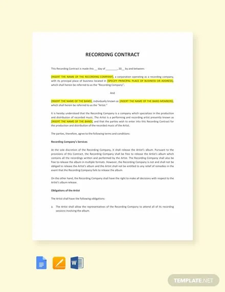 Recording Contract Template Templatenet