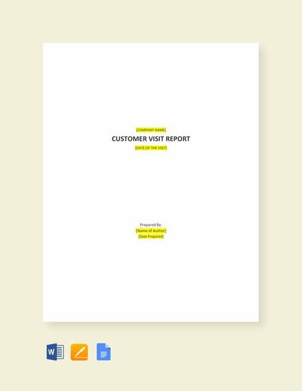 New Customer Visit Report Template Templatenet