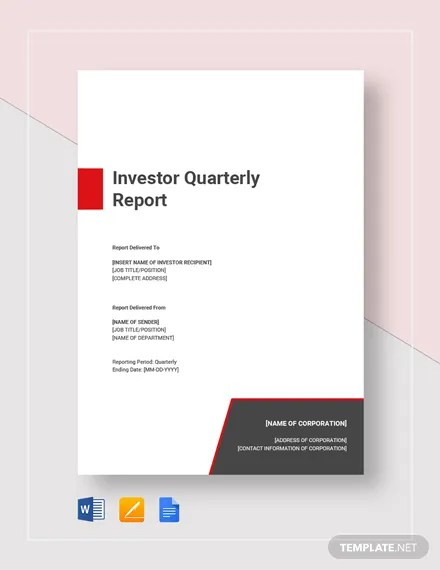 Investor Quarterly Report Template  Download 255+ Reports in
