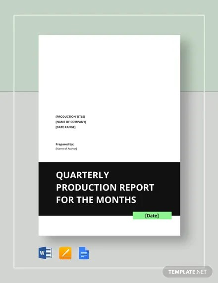 Quarterly Production Report Template  Download 246+ Reports in