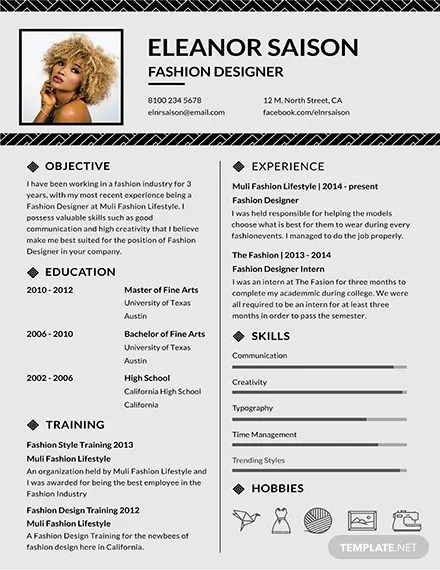 Free Assistant Fashion Designer Resume and CV Template Download 160