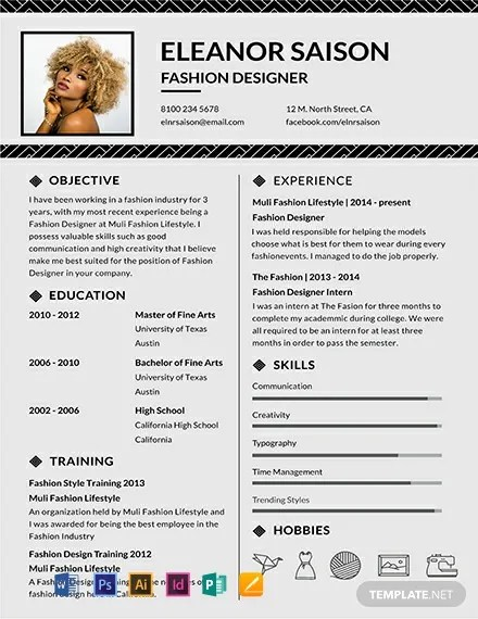 FREE Assistant Fashion Designer Resume and CV Template Download 316