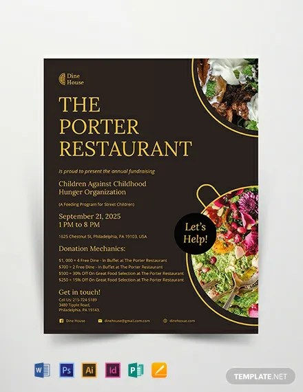 Restaurant Fundraising Flyer Template Download 306+ Flyers in