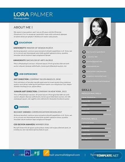 FREE Simple Photographer Resume Template in Photoshop, Word