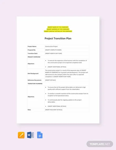 Project Transition Plan Template in Word, Apple Pages, Google Docs