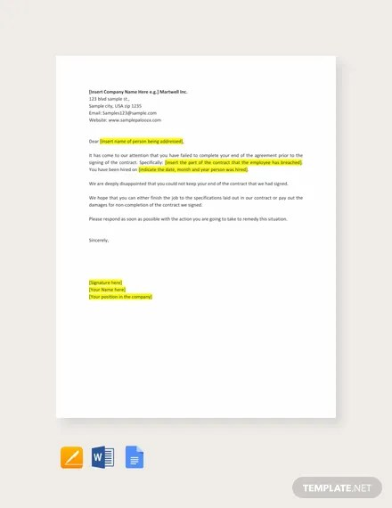 Breach of Employment Contract Template in Word, Apple Pages, Google