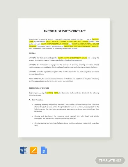 Janitorial Service Contract Template in Word, Apple Pages, Google