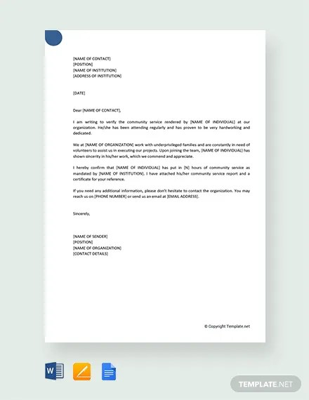 FREE Community Service Letter Template Download 2191+ Letters in
