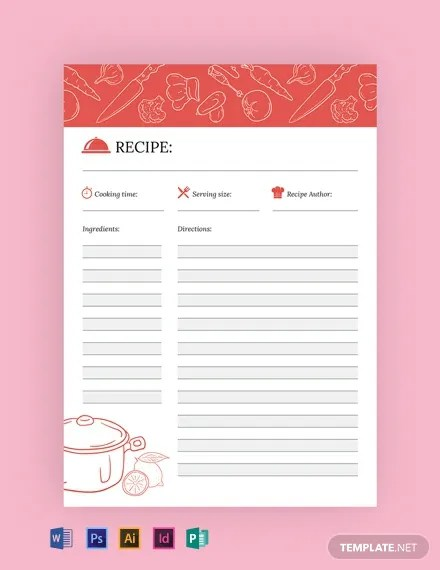 FREE Recipe Journal Template Download 14+ Notebook  Journals in