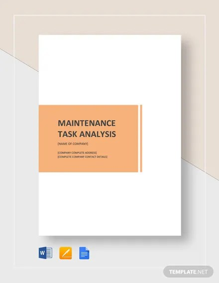 Maintenance Task Analysis Template Download 133+ Analysis Templates