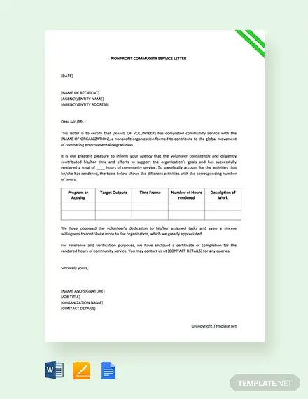 FREE Nonprofit Community Service Letter Template Download 2191+