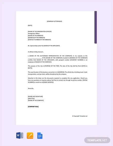 FREE Sponsorship Letter for Visa from Company Template Download
