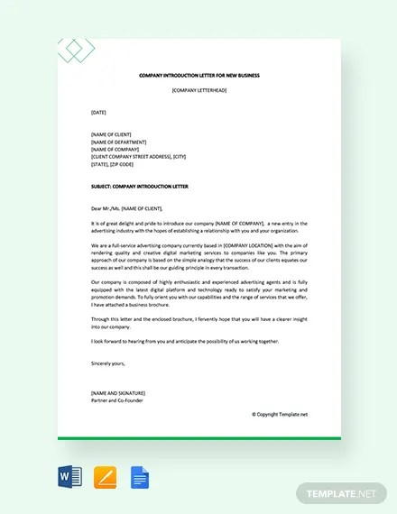 FREE Company Introduction Letter for New Business Template Download