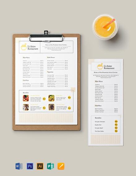 Asian Restaurant Menu Template  Download 86+ Menus in Microsoft