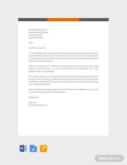 FREE Child Care Reference Letter Template Download 2191+ Letters in