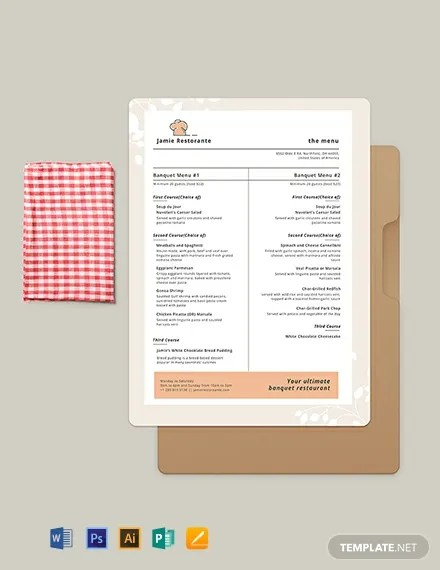 Simple Banquet Menu Template  Download 86+ Menus in Microsoft Word