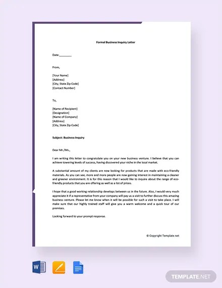 FREE Formal Business Inquiry Letter Template Download 2191+ Letters