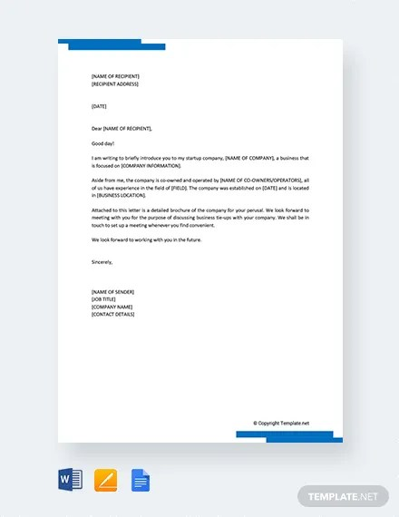 FREE Startup Company Introduction Letter Template Download 2191+