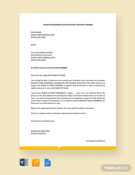 FREE Character Letter For Court for Family Member Template Download