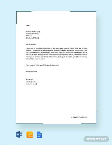 FREE Formal Sick Leave Letter to Principal Template Download 2191+